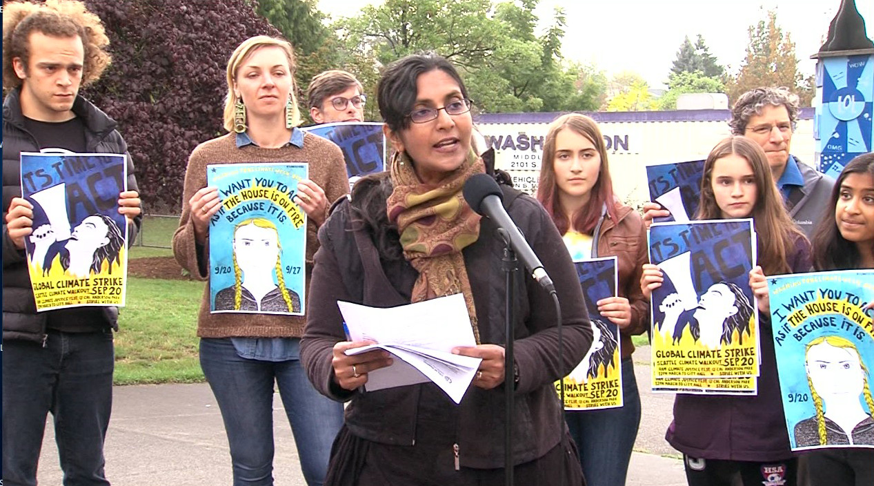 CM Sawant rallies with students for excused absences for Global Climate Strike