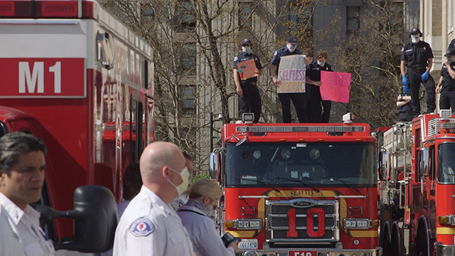 Seattle Fire Department celebrates hardworking hospital staff