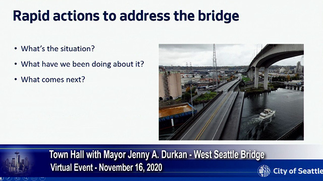 Mayor Durkan hosts virtual town hall on the West Seattle Bridge