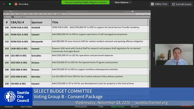 Select Budget Committee Session II 11/18/20