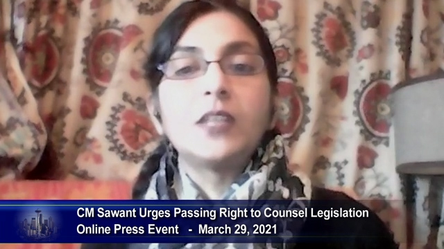Sawant urges colleagues to pass Right to Counsel legislation